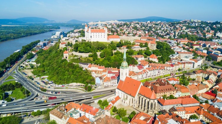 Bratislava Castle or Bratislavsky Hrad and St. Martin Cathedral aerial panoramic view. Bratislava is a capital of Slovakia.; Shutterstock ID 781644883; Departmental Cost Code : 162800; Project Code: GBLMKT; PO Number: GBLMKT; Other:
