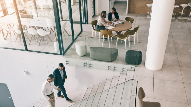 High angle shot of businesspeople in an office